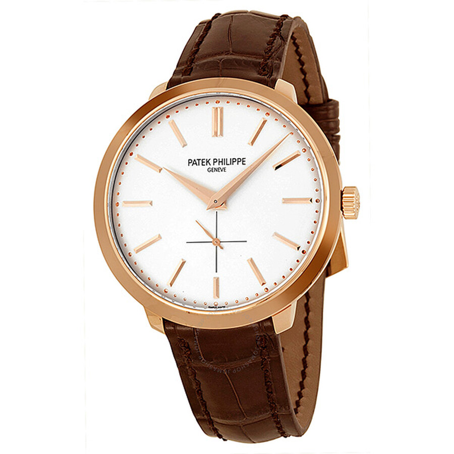 Patek philippe calatrava silver dial 18k rose gold brown leather men 39 s watch 5123r 001 for Patek phillipe watch