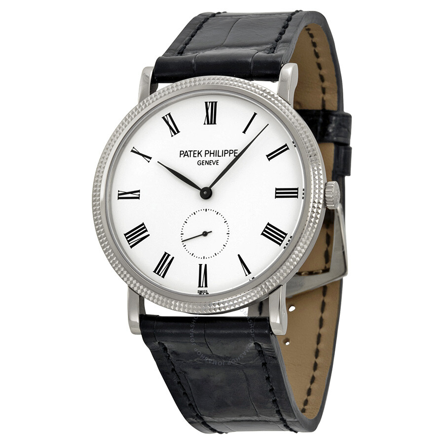 Patek philippe calatrava white dial 18 kt white gold men 39 s watch 5119g calatrava patek for Patek philippe