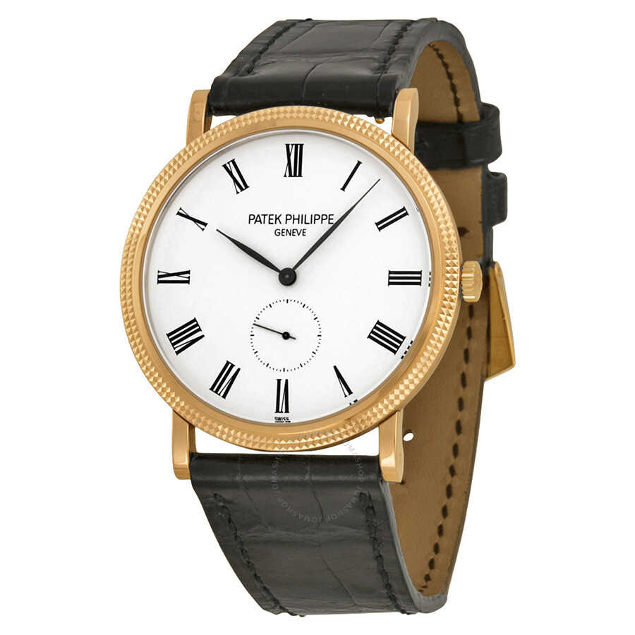 Patek philippe calatrava white dial 18kt rose gold men 39 s watch 5119r calatrava patek for Patek philippe