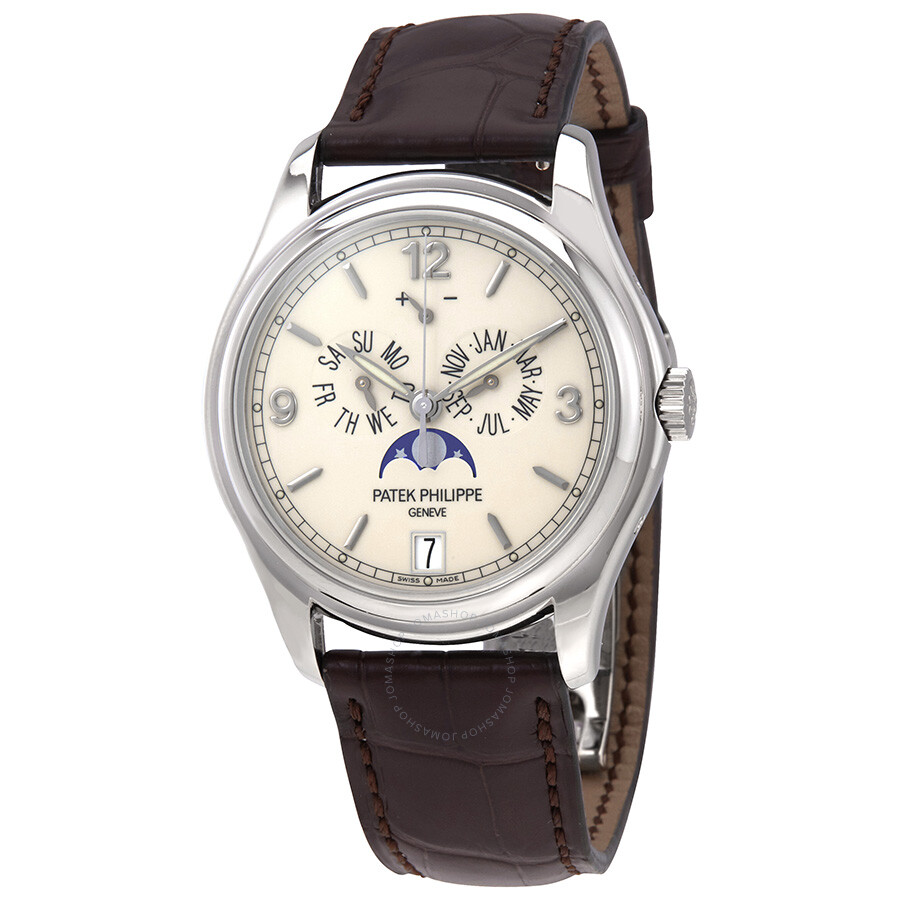Patek philippe complicated annual calendar 18kt white gold automatic men 39 s watch 5146g for Patek philippe