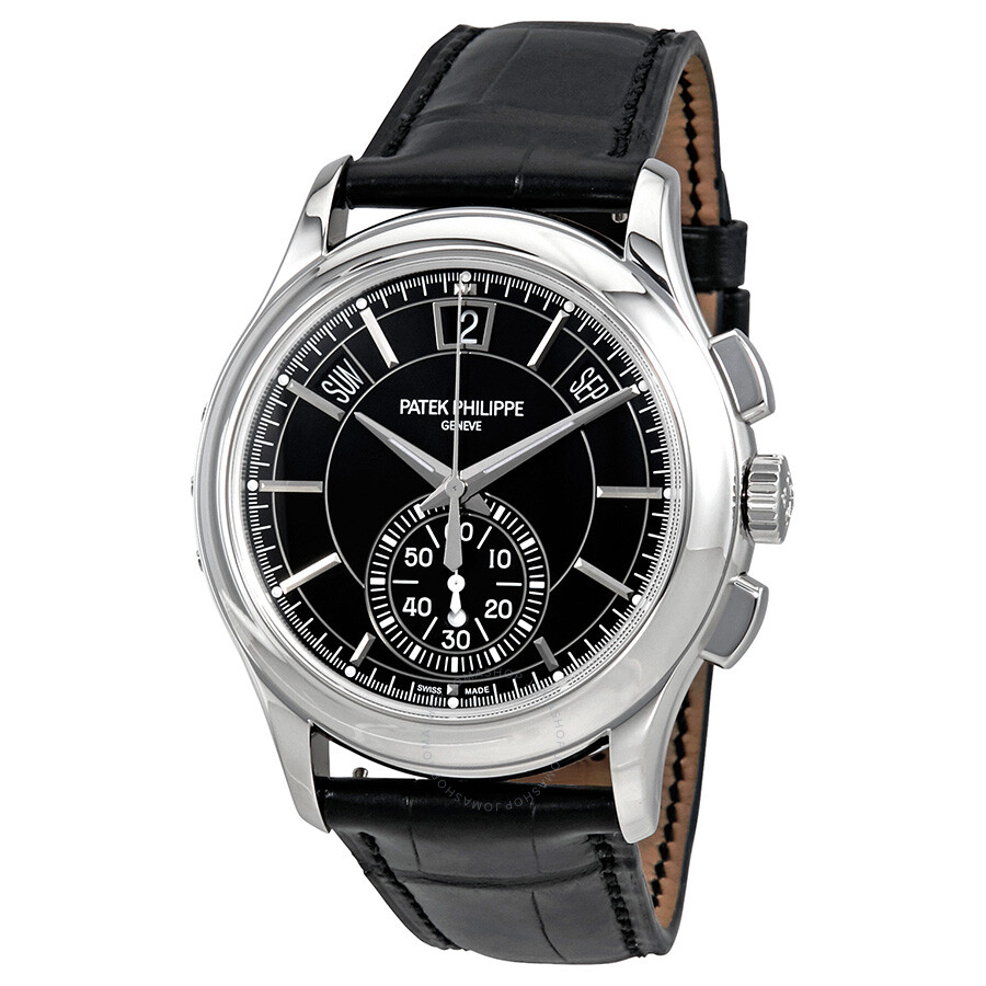 Patek philippe complications black dial annual calendar platinum men 39 s watch 5905p 010 for Patek philippe