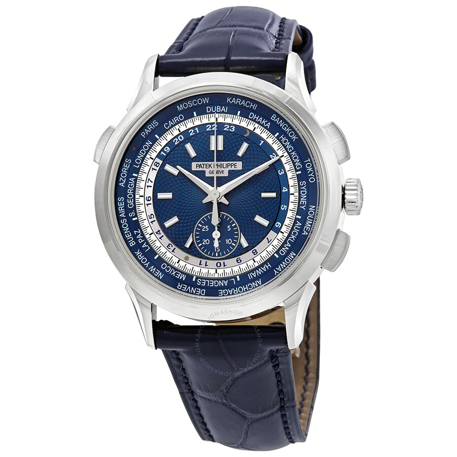Patek philippe complications blue dial automatic men 39 s 18k white gold watch 5930g 001 for Patek philippe watch