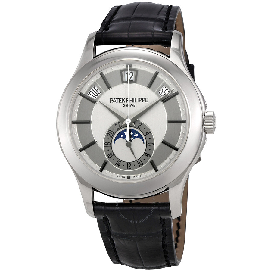 Patek Philippe Complications Grey Dial 18k White Gold Black Leather Men S Watch 5205g 001