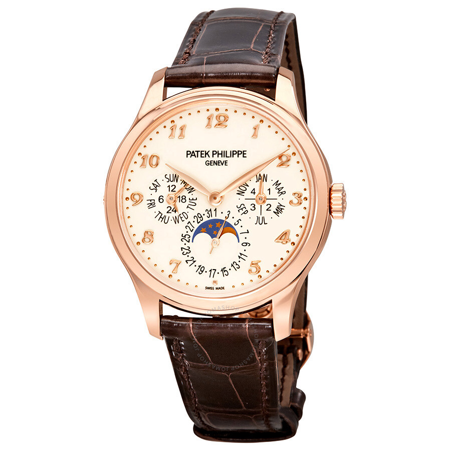 Patek philippe grand complication ivory lacquered dial automatic men 39 s 18 carat rose gold watch for Patek phillipe watch