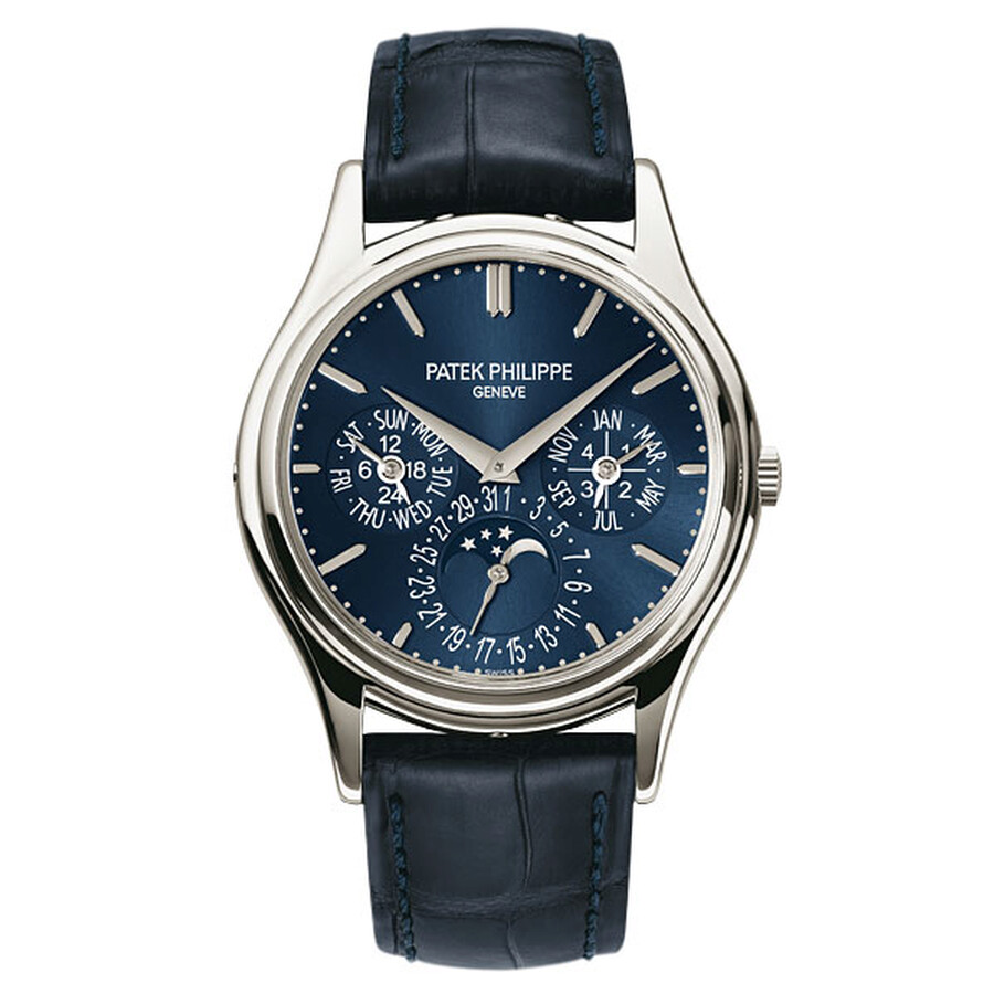 patek philippe grand complications blue dial platinum blue leather platinum blue leather men s watch 5140p move your mouse over image or click to enlarge