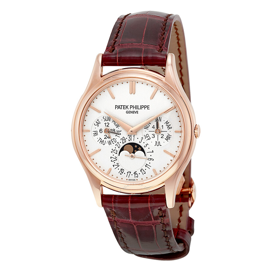 Patek philippe grand complications silver dial 18kt rose gold men 39 s watch 5140r 011 grand for Patek watches