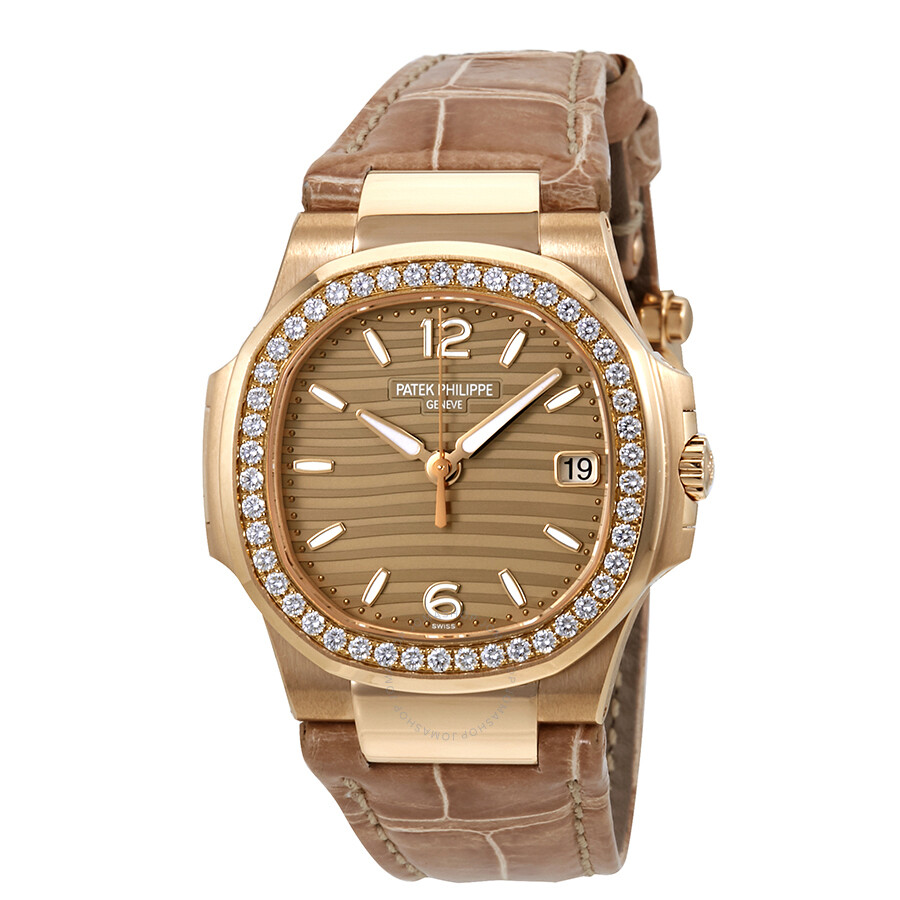 Patek philippe nautilus 18k rose gold diamond ladies watch 7010r 012 nautilus patek philippe for Patek philippe women