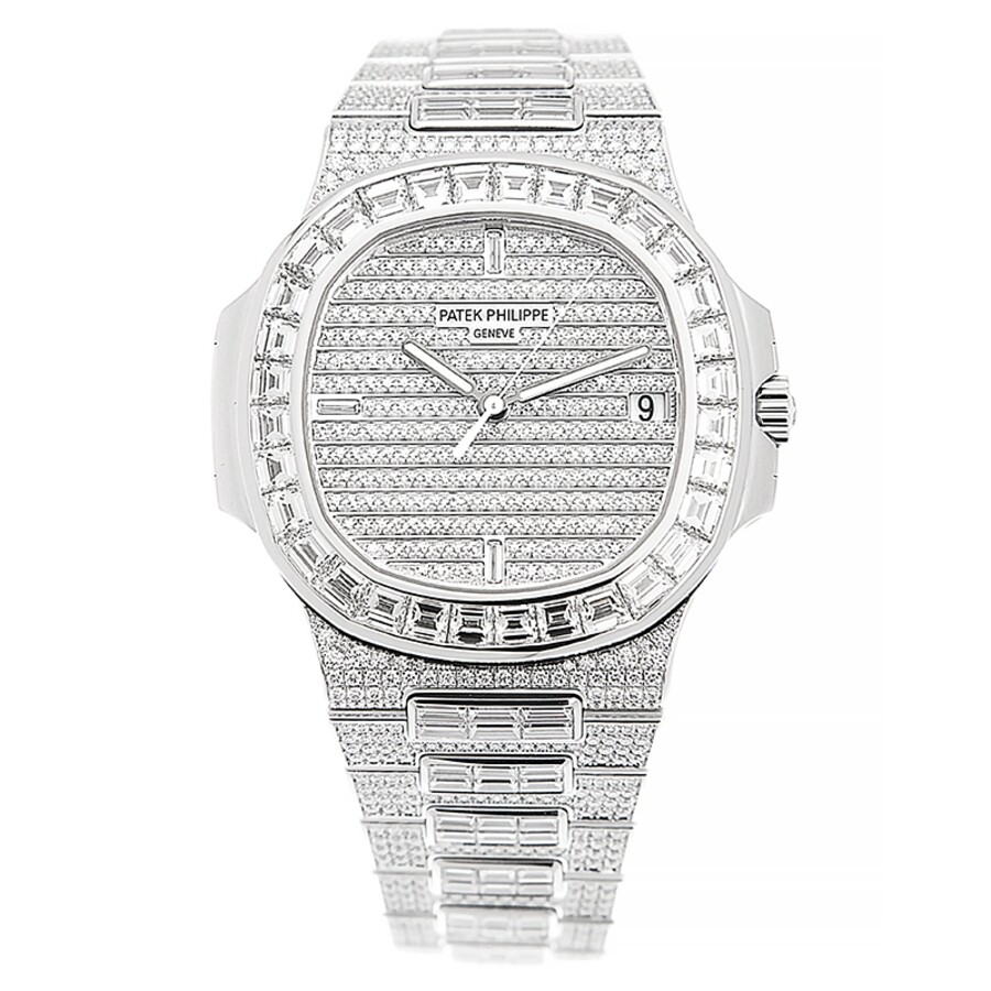Patek Philippe Nautilus Automatic Diamond Silver Dial Watch 5719 10g