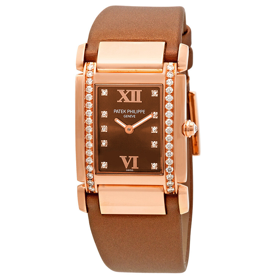 70fbb201d0e Patek Philippe Twenty 4 Diamond Brown Dial Rose Gold Ladies Watch 4920R 001  ...