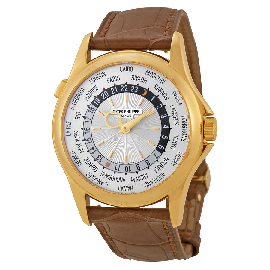 Patek philippe world time silver dial 18kt yellow gold brown leather men 39 s watch 5130j world for Patek watches