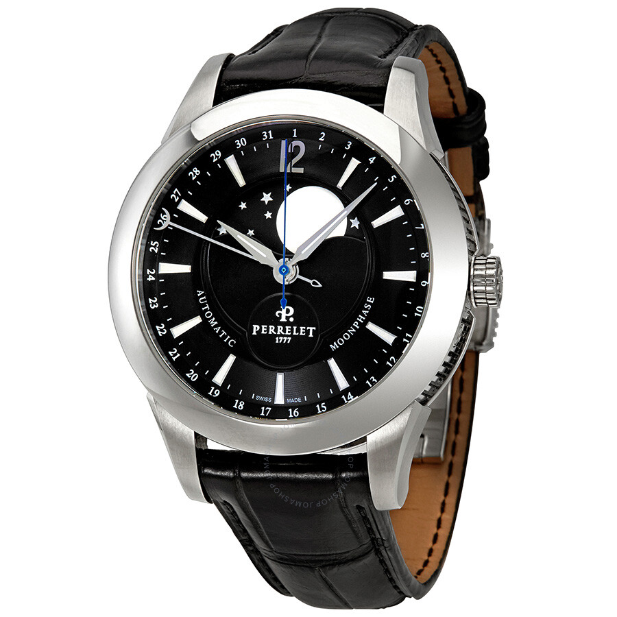 perrelet moonphase automatic black dial men s watch a1039 7