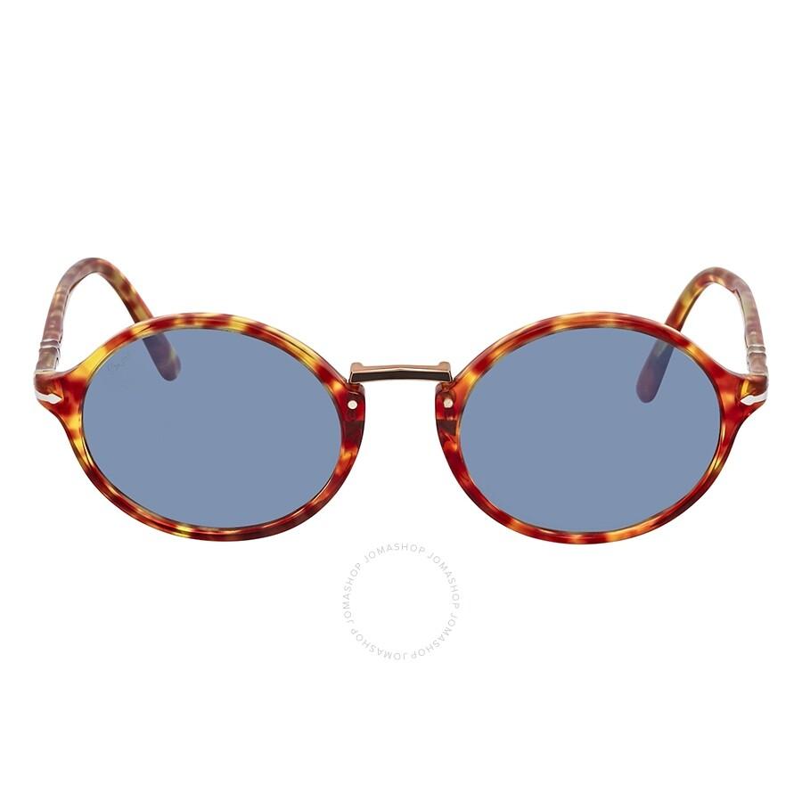 edfd17dfbbbf Persol Light Blue Round Unisex Sunglasses PO3208S 106056 50 - Persol ...