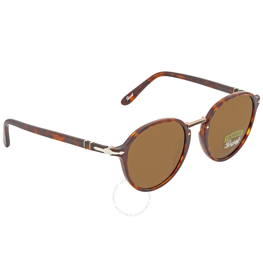 571d9a5d1f30a Persol Polarized Brown Round Sunglasses PO3184S 24 57 51 - Persol ...