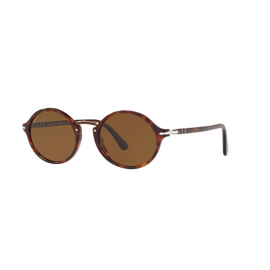 98f7a4cbe3 Persol Typewriter Edition PO3208S Havana Brown Polar Round Sunglasses  0PO3208S 24 57 Item No. 0PO3208S 24 57 53