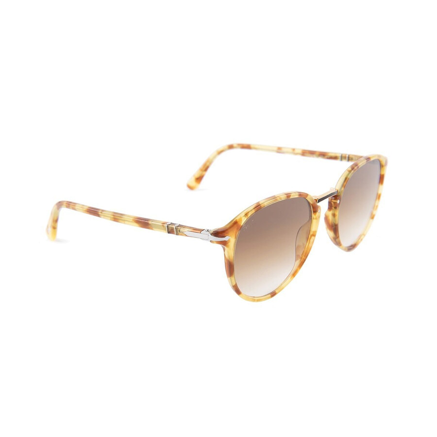 ed823358c8ec2 Persol Typewriter Edition PO3210S Yellow Tort Clear Gradient Brown Round  Sunglasses PO3210S 106151 Item No. PO3210S 106151 54