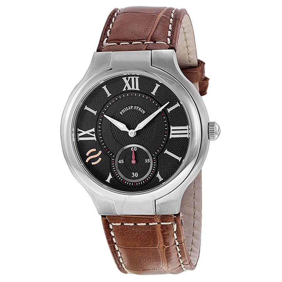 Philip stein black dial leather strap men 39 s watch 42 bk asbr extreme philip stein watches for Philip stein watches