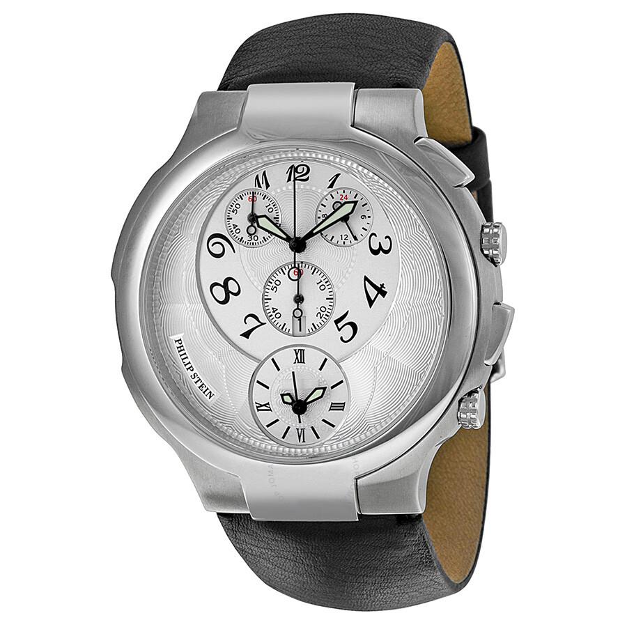 Philip stein chronograph white dial black leather strap ladies watch 9 crw3 cb signature for Philip stein watches