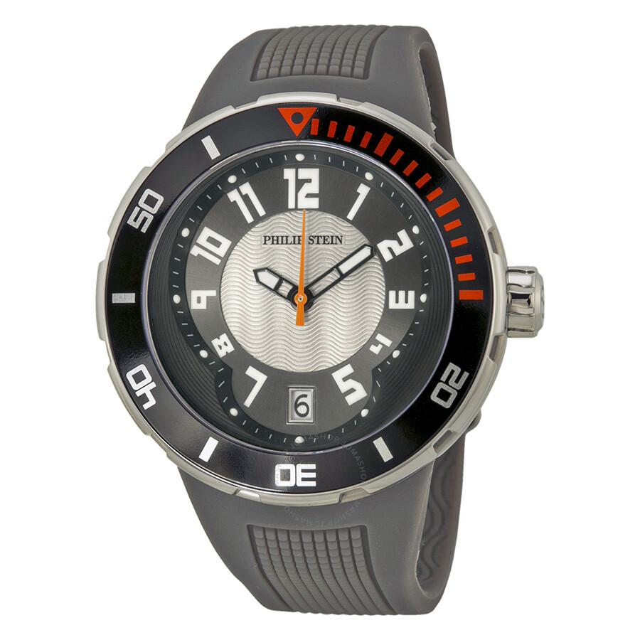 Philip stein extreme grey rubber strap men 39 s watch 34 bgr rgr extreme philip stein watches for Philip stein watches