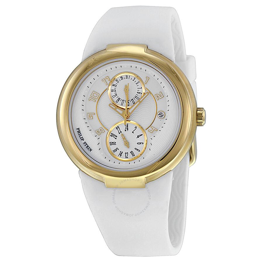 Philip stein gold and white dial white rubber strap ladies watch 31 agw rw active philip for Philip stein watches