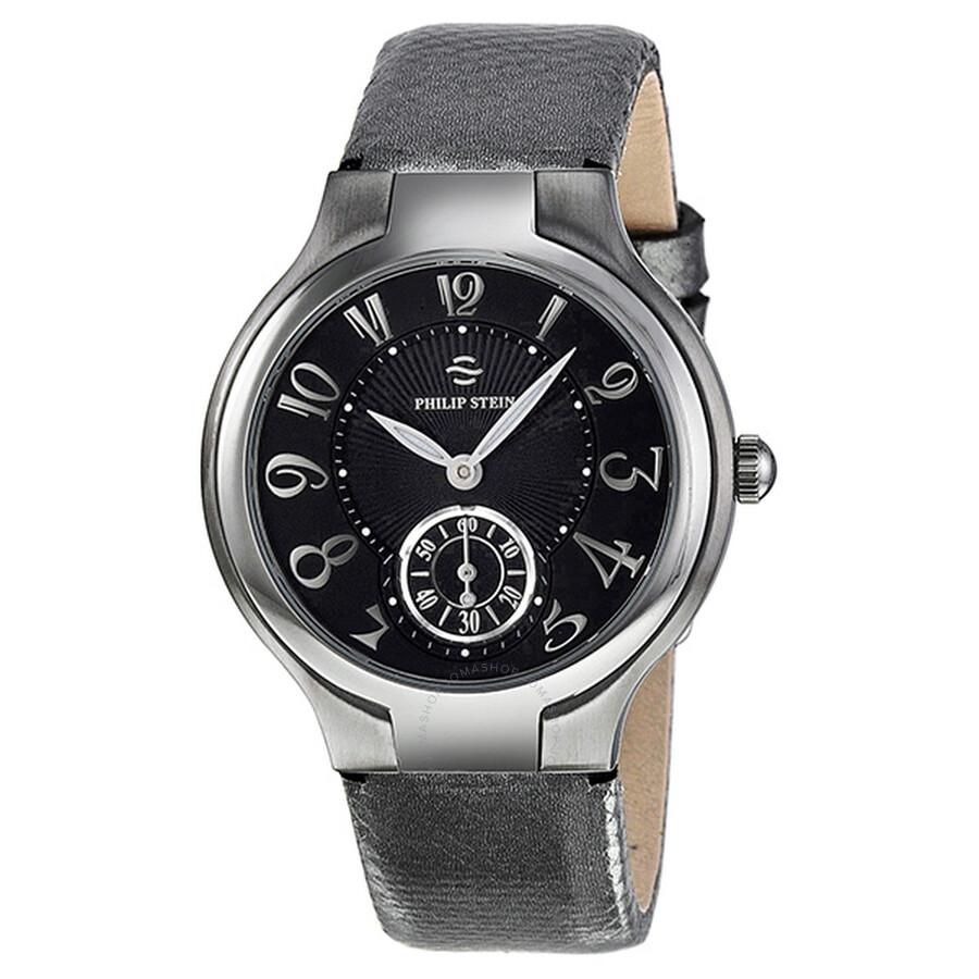 Philip stein signature round small black dial metallic karung strap ladies watch 41 fb ugm for Philip stein watches