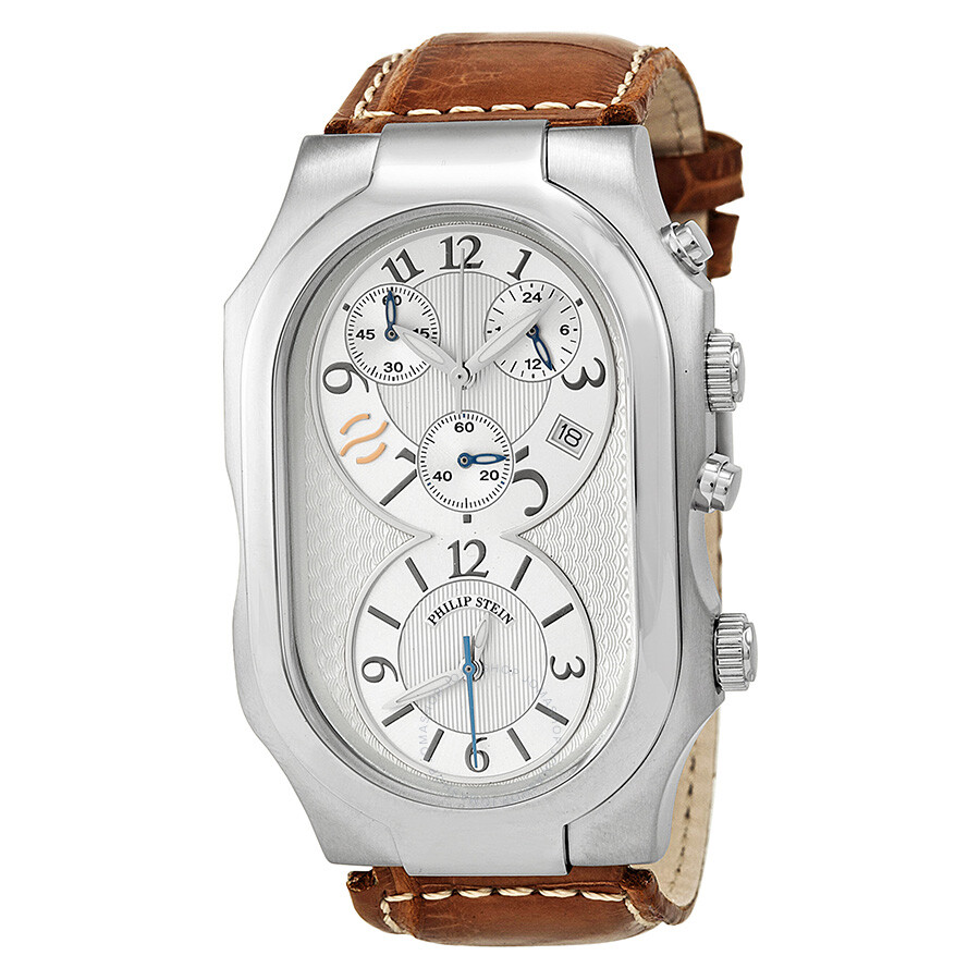 Philip stein silver dial stainless steel case leather strap men 39 s watch 3 crsil asbr signature for Philip stein watches
