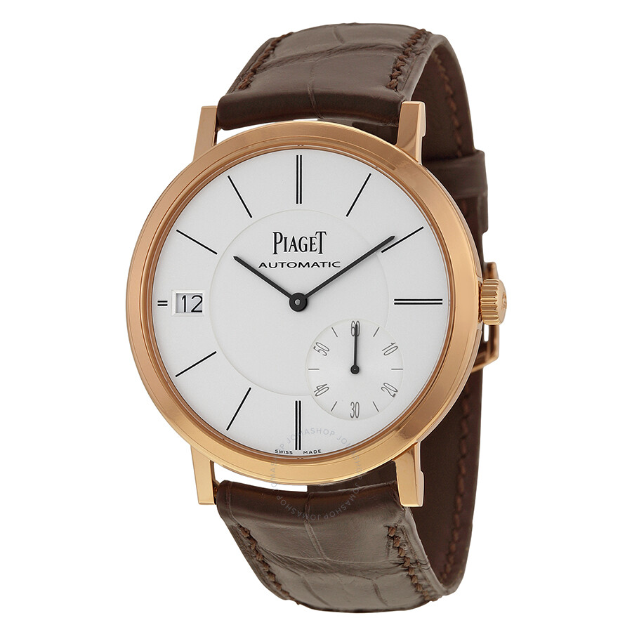 piaget altiplano automatic silver brown leather s