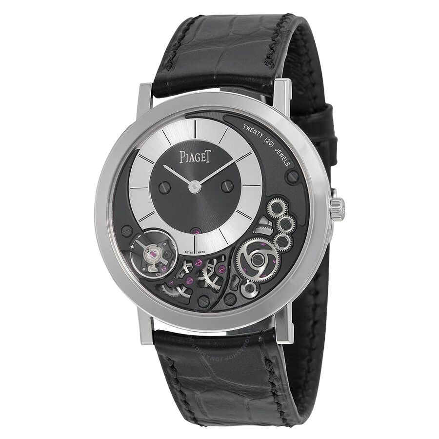 piaget watches jomashop piaget altiplano black and silver dial 18kt white gold black leather men s watch