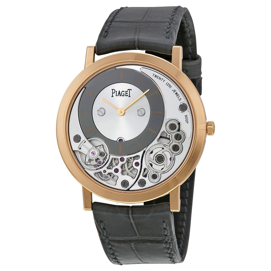 Piaget altiplano silver and black skeleton dial 18kt rose gold gray leather men 39 s watch goa39110 for Altiplano watches