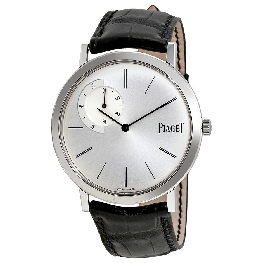 piaget altiplano silver black leather automatic s