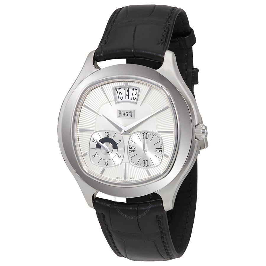 ae4e741b714 Piaget Emperador Coussin Silver Dial Black Leather Automatic Men s Watch  GOA32016 ...