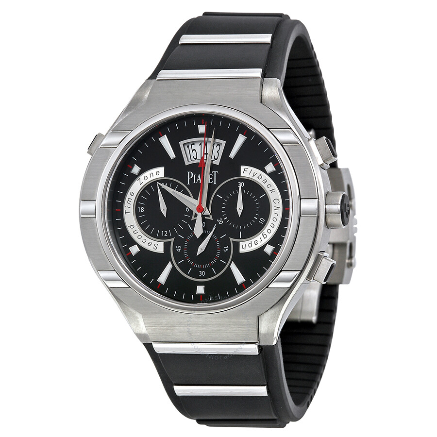piaget polo chronograph automatic black rubber s