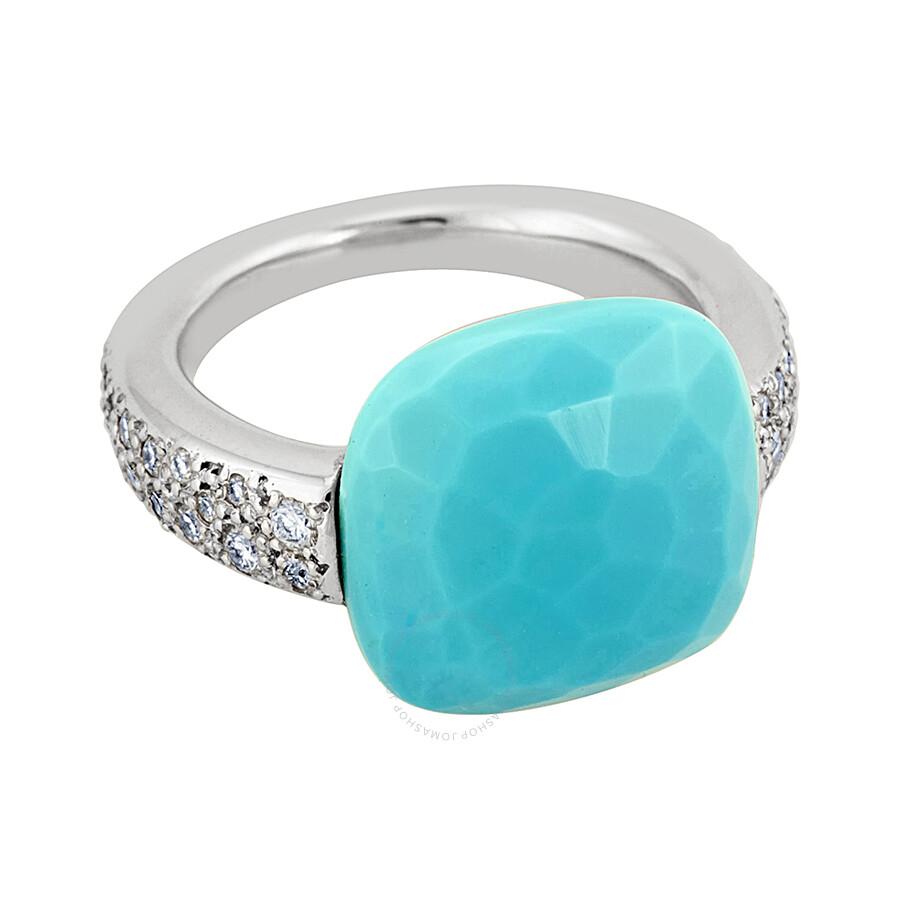 pomellato 18k white gold turquoise ring 852816 size 5