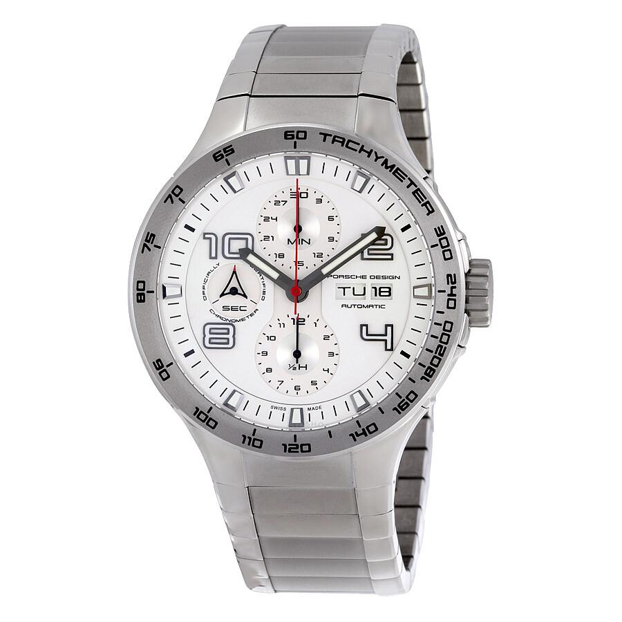 porsche design flat six chronograph white dial men 39 s watch. Black Bedroom Furniture Sets. Home Design Ideas