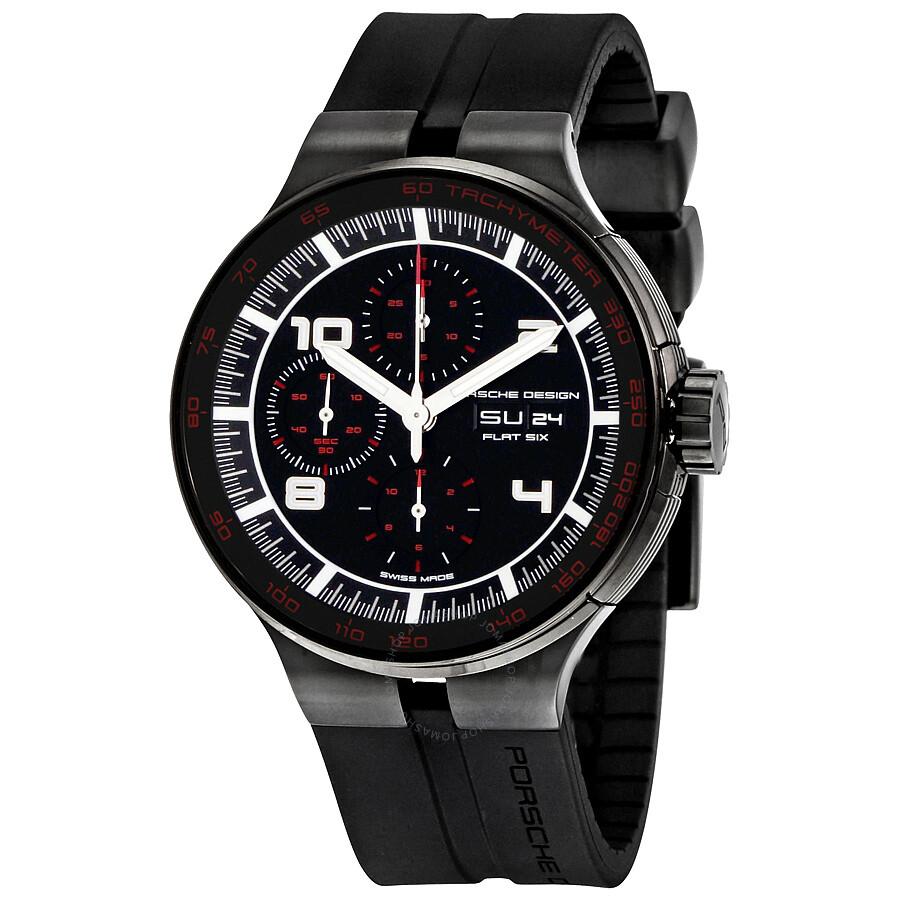 porsche flat six chronograph automatic black black