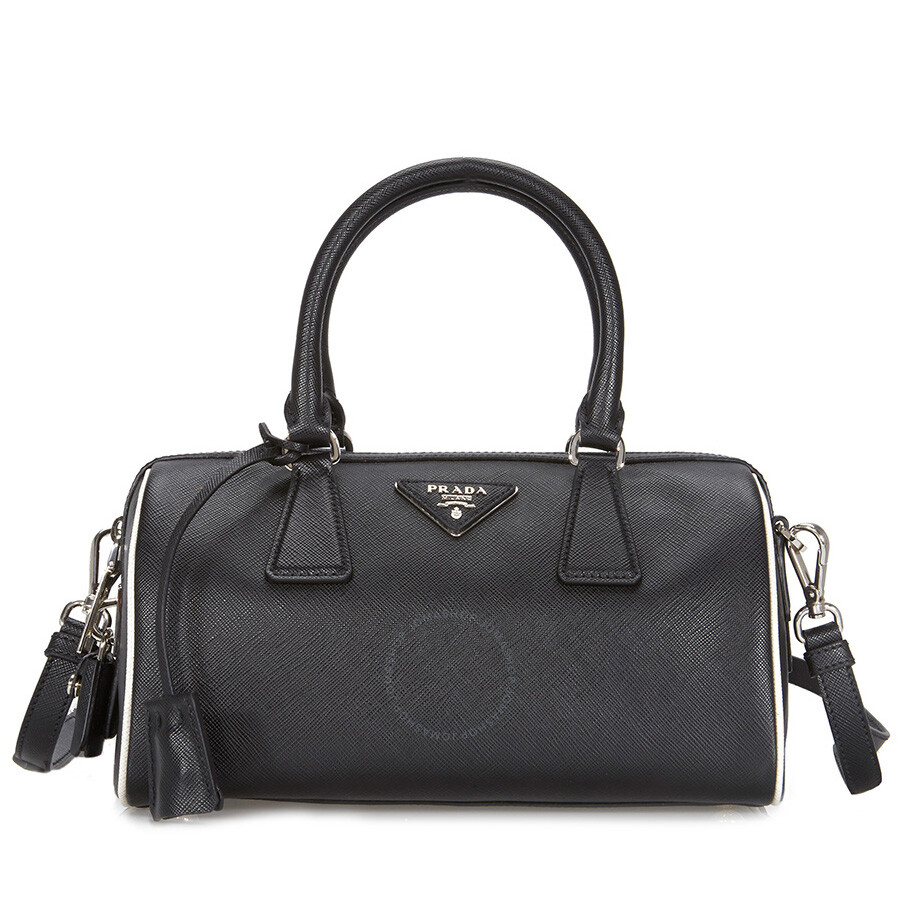 ef2d3a2a3a32 Prada 2-Way Lux Saffiano Leather Shoulder Bag - Black   Talc - 2-Way ...