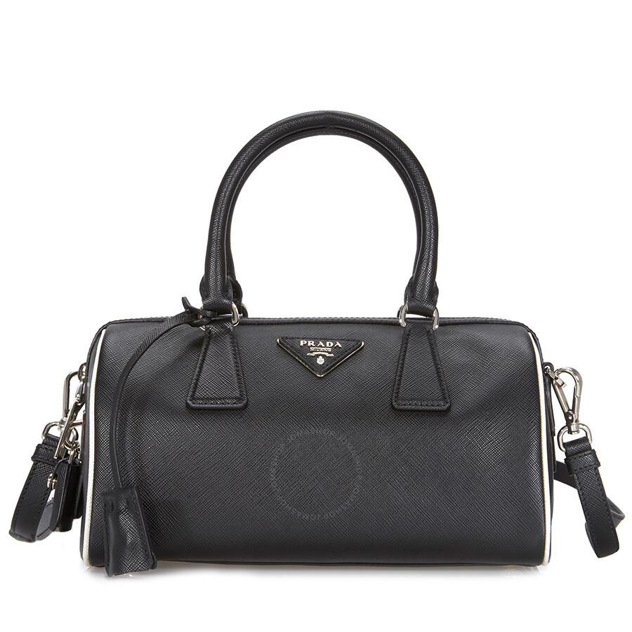 50cecb04878d Prada 2-Way Lux Saffiano Leather Shoulder Bag - Black / Talc - 2-Way ...