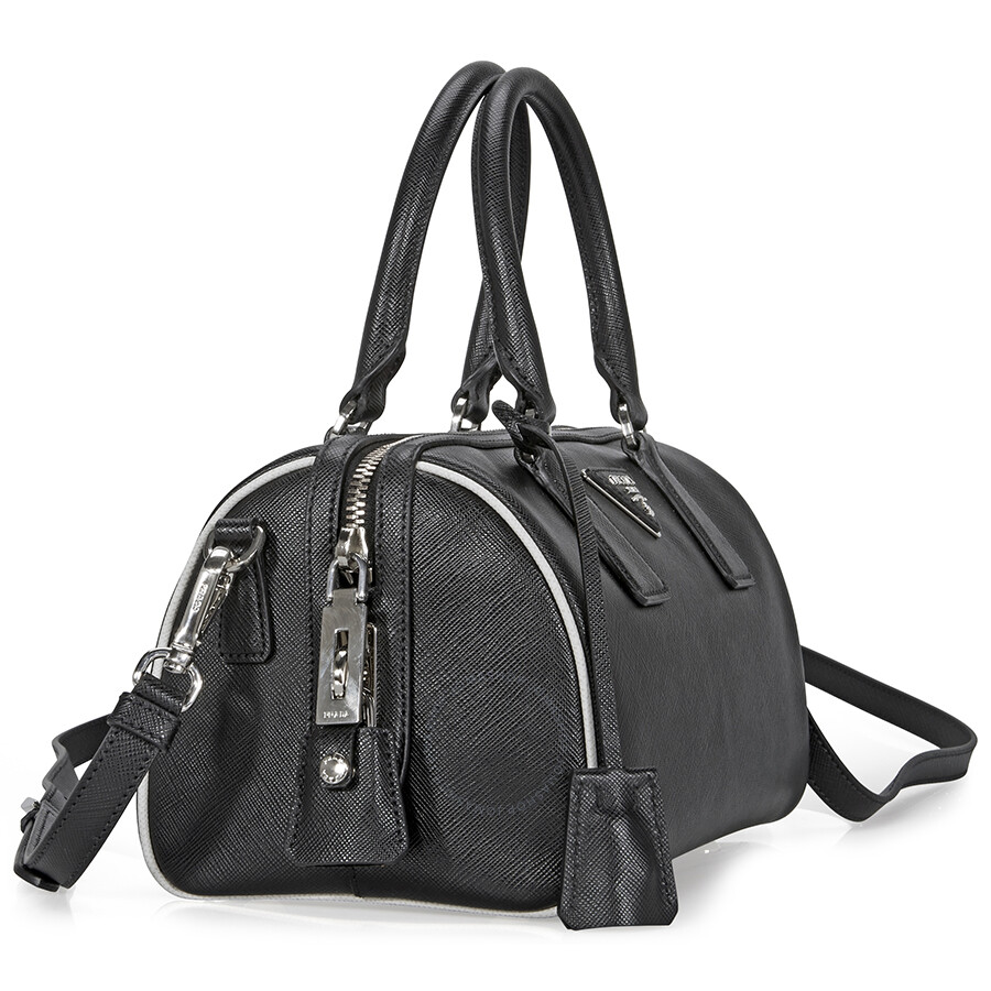 Prada 2-Way Lux Saffiano Leather Shoulder Bag - Black   Talc - 2-Way ... 6cb469748c037