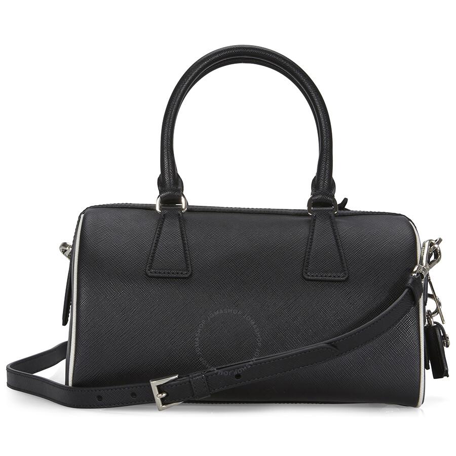 Prada 2-Way Lux Saffiano Leather Shoulder Bag - Black   Talc - 2-Way ... 7c51dc28ce06a
