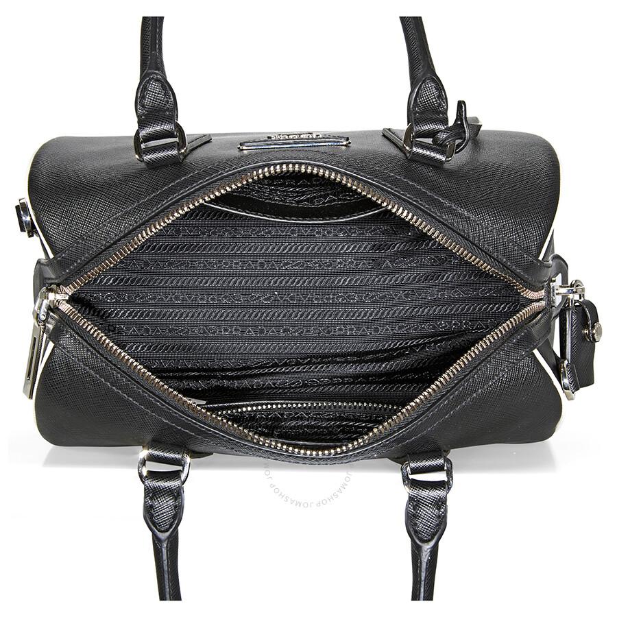 8e395db9d480 ... usa prada bibliothèque watersnake paneled leather tote prada 2 way  black white ladies 9.8 x 5.3
