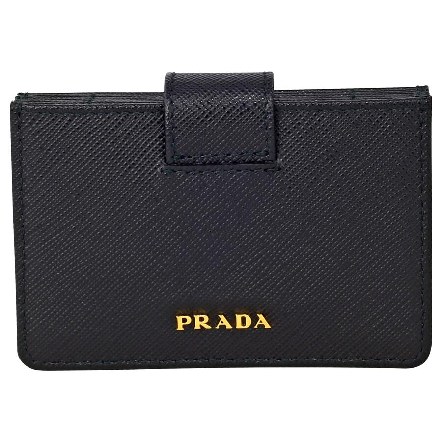 Prada Accordion Saffiano Leather Card Case - Black - Prada ...