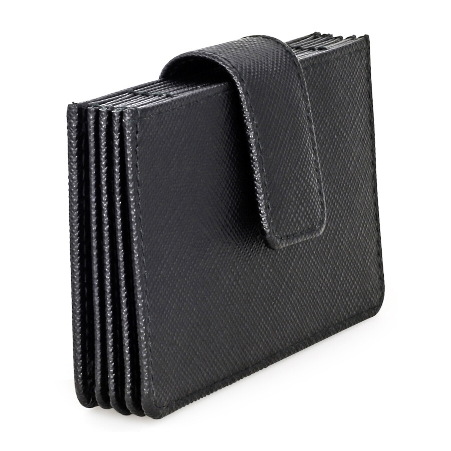 c3441e7cb7262a Prada Accordion Saffiano Leather Card Case - Black - Prada ...