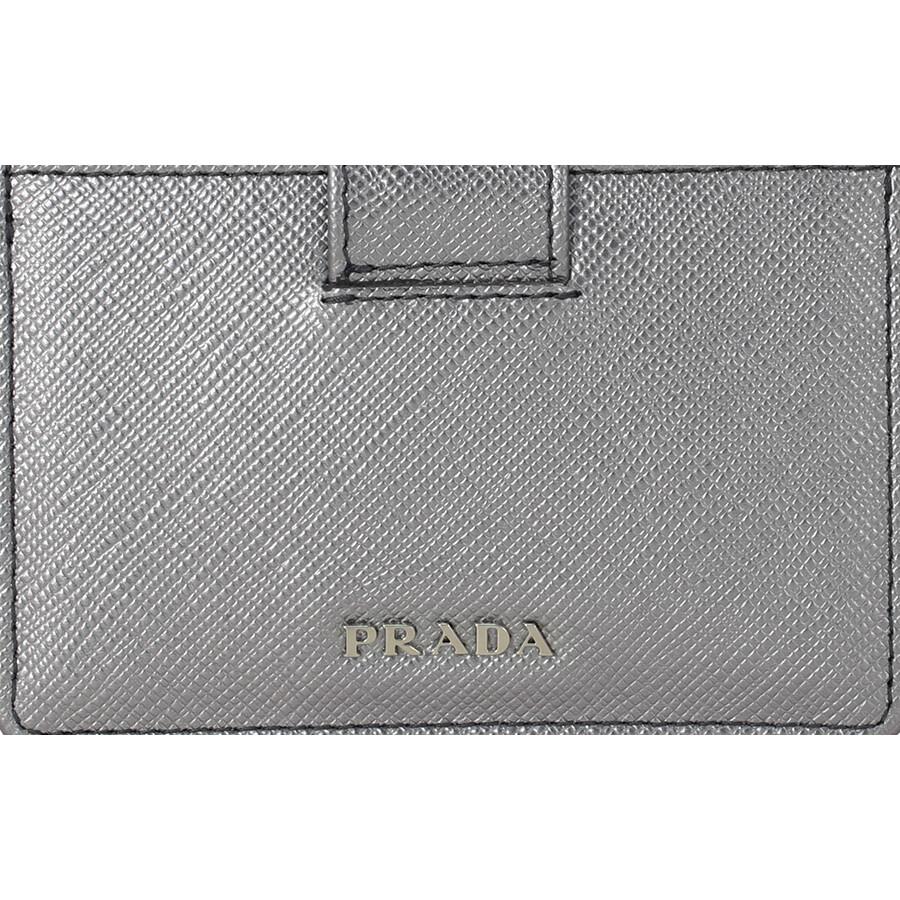 Prada Accordion Saffiano Leather Card Case - Cromo - Prada ...