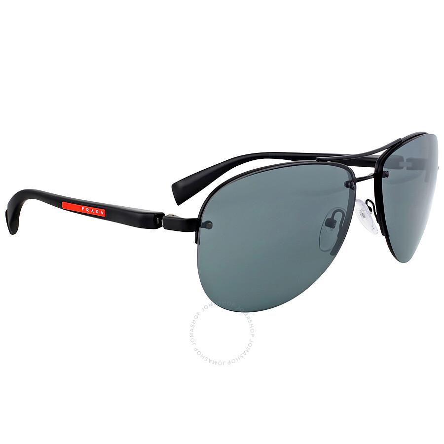 ef74f390ddf Prada Aviator Black Demi Shiny Sunglasses PS 56MS-1BO1A1-62 - Prada ...