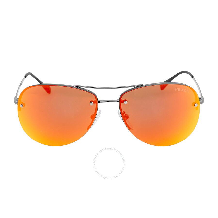 8681251e056 Prada Aviator Brown Mirror Orange Sunglasses PS 50RS-5AV5M0-59 ...
