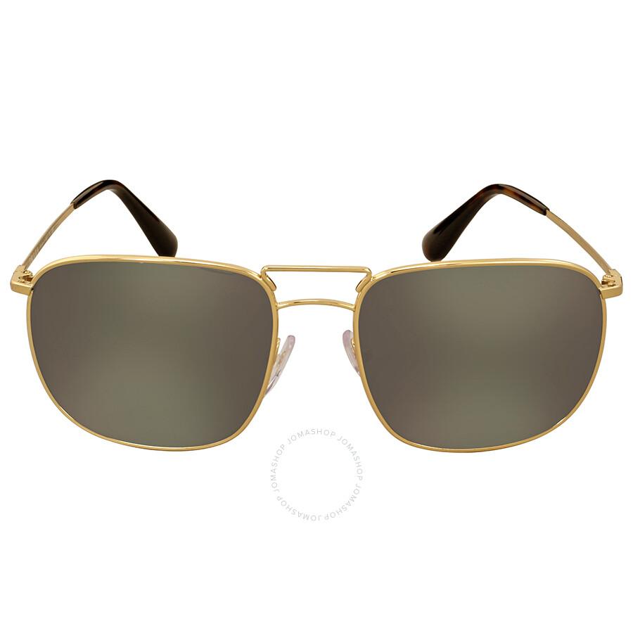 9e5ac7f7538e Prada Aviator Gold-Tone Dark Grey Mirror Men s Sunglasses Item No. 0PR  52TS5AK4L057