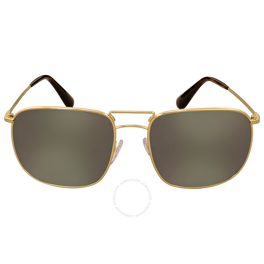 98cffceeb69e Prada Aviator Gold-Tone Dark Grey Mirror Men's Sunglasses Item No. 0PR  52TS5AK4L057