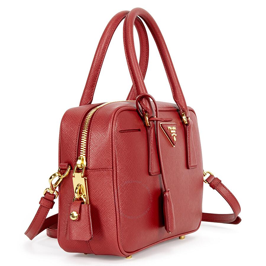 e2094cd396b111 Prada Bauletto Saffiano Leather Lux Handbag - Fuoco - Lux - Prada ...