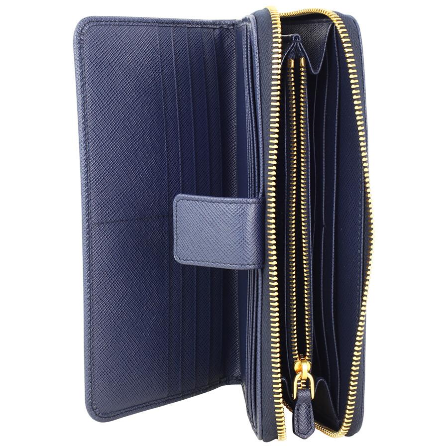 Prada Bi Fold Zip Saffiano Leather Continental Wallet