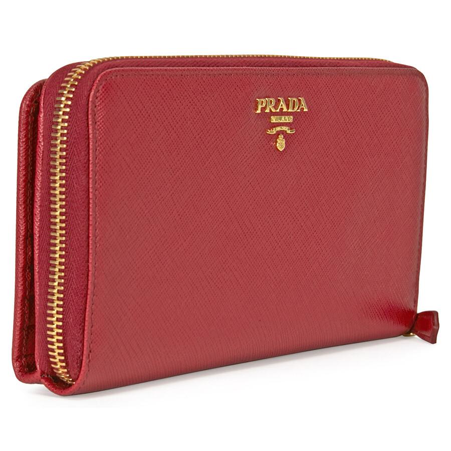 62c53aba520f ... Prada Bi-fold Zip Saffiano Leather Continental Wallet - Fuoco ...
