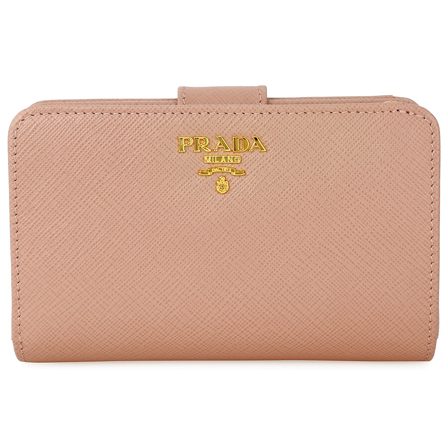 d8645520 Prada Bi-fold Zip Saffiano Leather Wallet - Cammeo